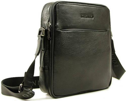 Повседневная мужская кожаная сумка на плечо Тоfionno 02922-4 черная