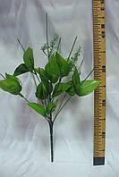 Ножка букетная на 9 голов с листочком и добавками, 50 см