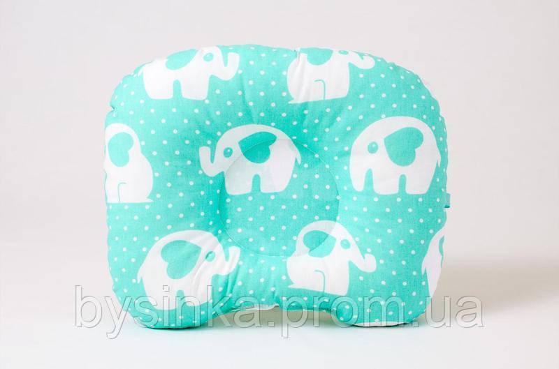 Детская ортопедическая подушка BabySoon Мятные слоники 22 х 26 см (542)