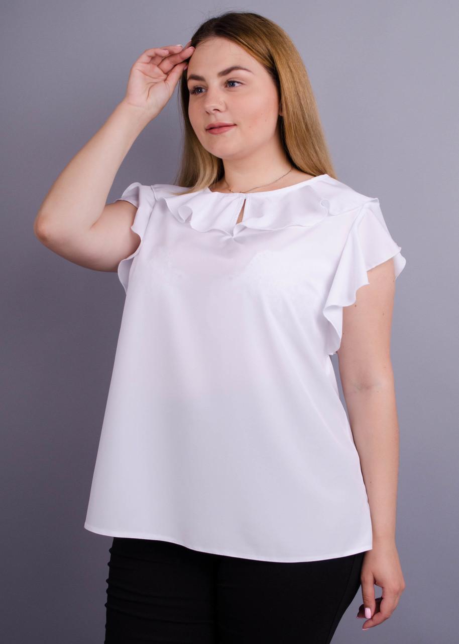 Руна. Легкая офисная блуза женская плюс сайз. Белый.