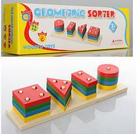 Деревянная игрушка Пирамидка Геометрика Цвета Геометрические Фигуры пірамідка md 0715, 001145