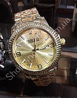 Часы Rolex 115819 женские стильные золотистые с золотым циферблатом на браслете календарь 37 мм