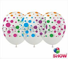 """Воздушные шары """"Горох цветной на прозрачном"""" 12""""(30 см) пастель ассорти В упак: 100шт ТМ Арт «SHOW» GR-8"""