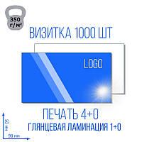 Визитка с глянцевой ламинацией 1+0 , 4+4, 1000 шт