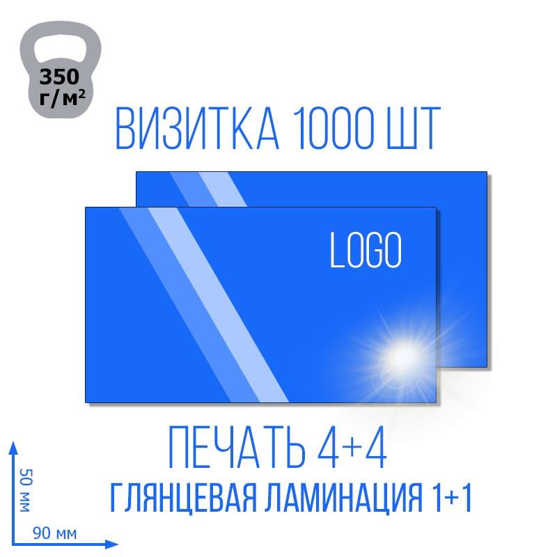 Визитка с глянцевой ламинацией 1+1 , 4+4, 1000 шт