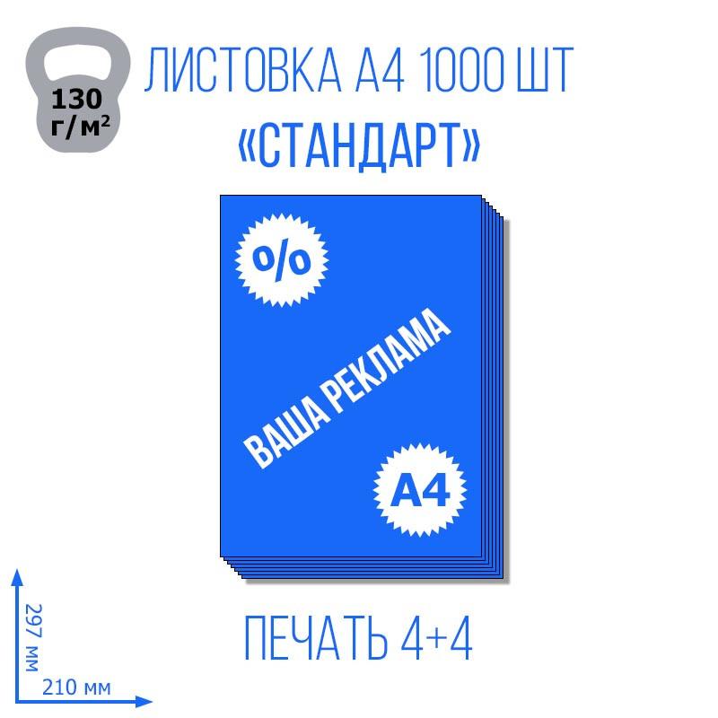 Листовка А4 210х297 мм Стандарт, 1000 л