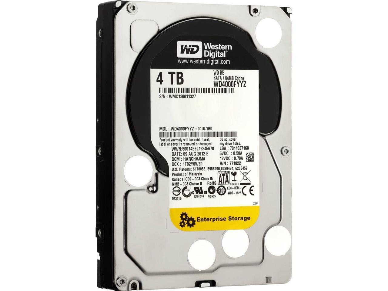 "Жесткий диск Western Digital RE 4TB 7200rpm 64MB WD4000FYYZ 3.5 SATA III ""Over-Stock"" Б/У"