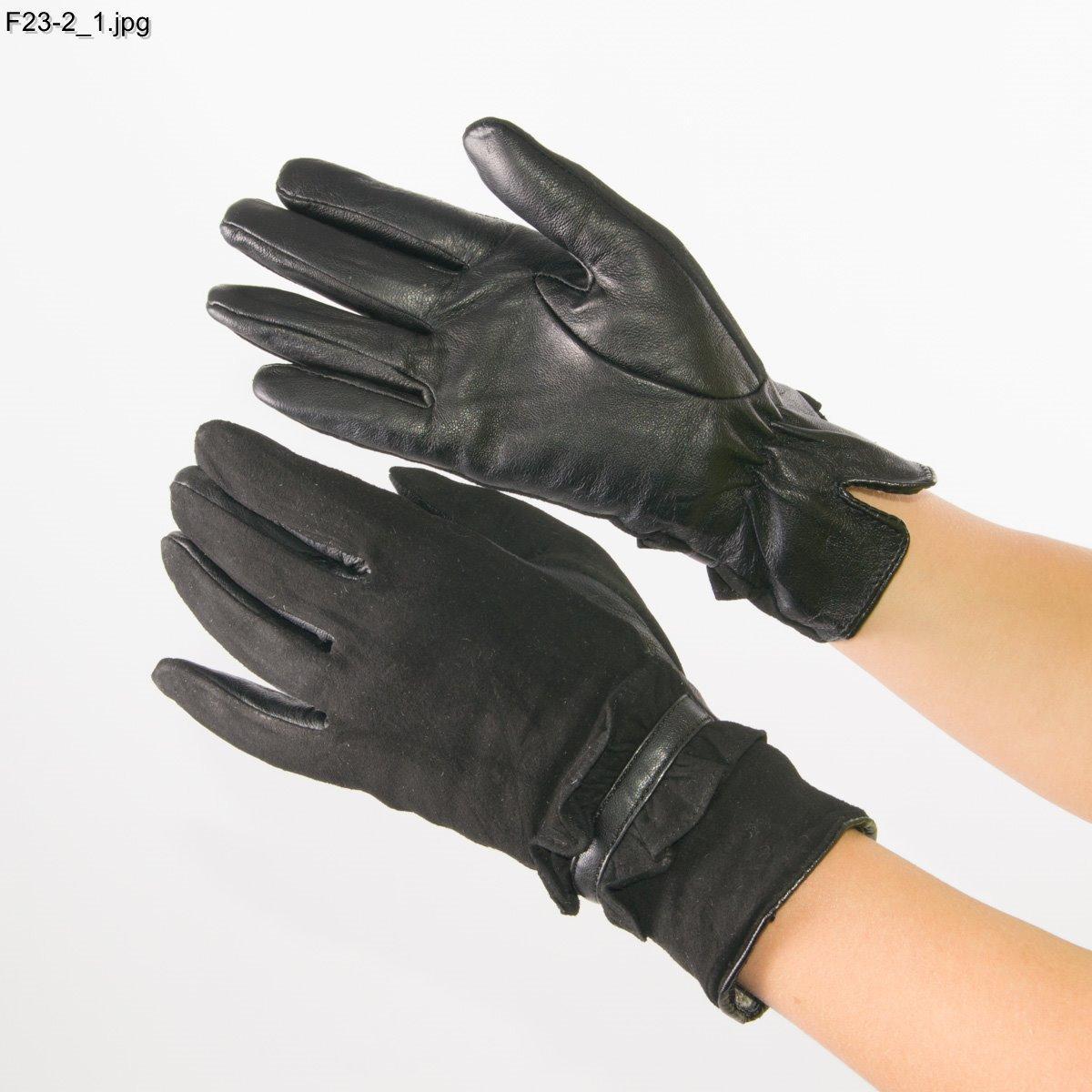 Оптом женские замшевые перчатки с кожаной ладошкой с плюшевой подкладкой - №F23-2