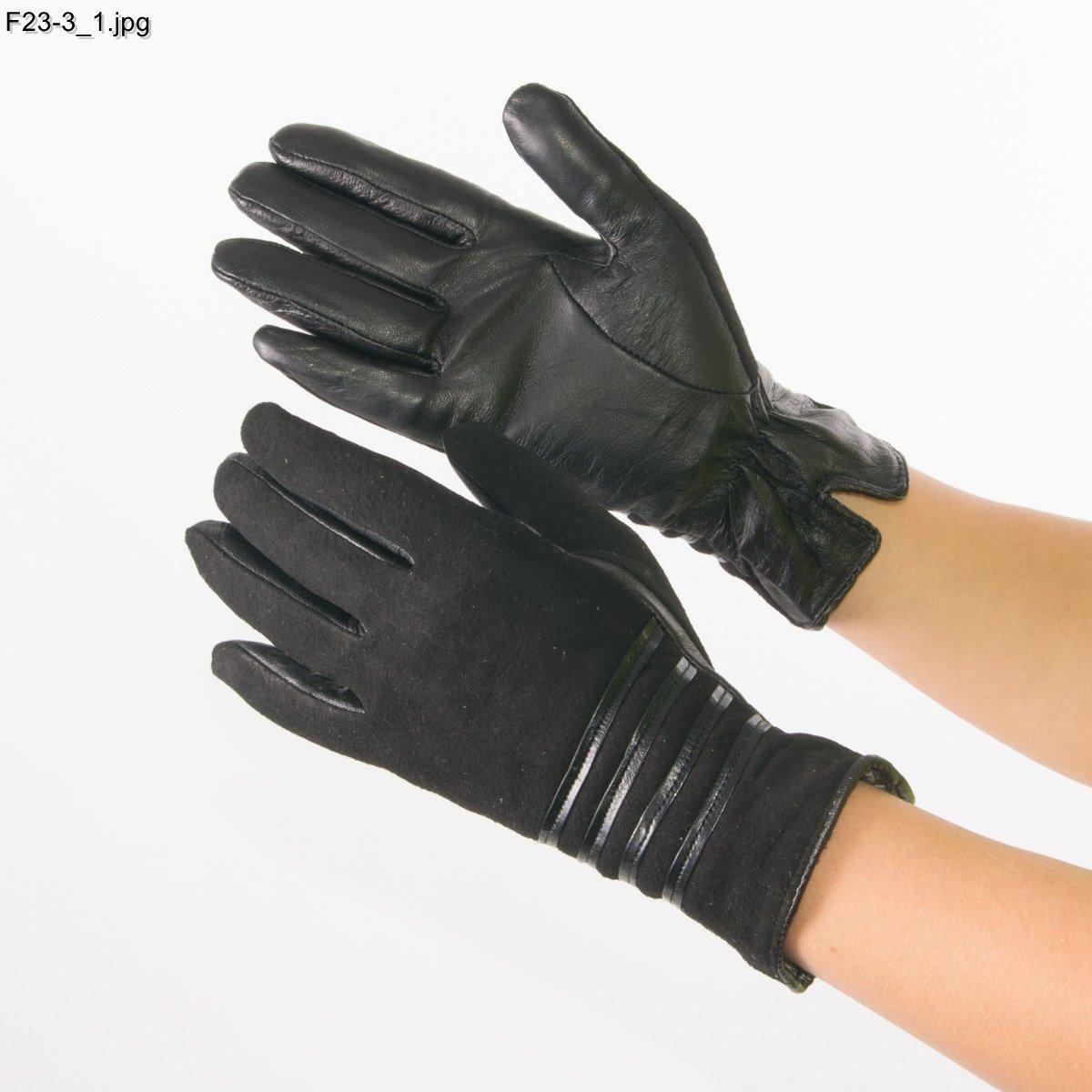 Оптом женские замшевые перчатки с кожаной ладошкой с плюшевой подкладкой - №F23-3