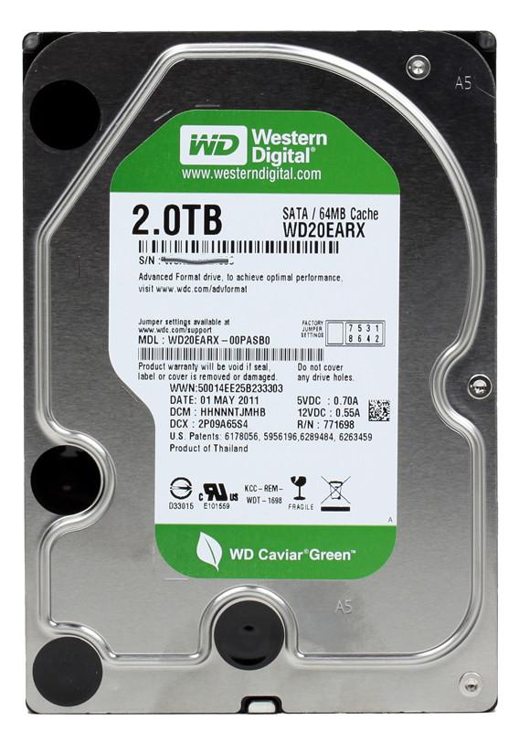 "Жесткий диск Western Digital Green 2TB 5400rpm 64МB WD20EARX 3.5 SATA III ""Over-Stock"" Б/У"