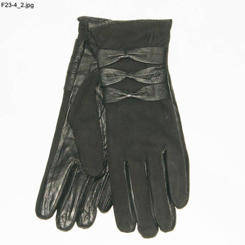 Оптом женские замшевые перчатки с кожаной ладошкой с плюшевой подкладкой - №F23-4, фото 2