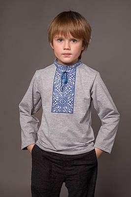 Вишиванка на хлопчика Подільська синя на сірому – комірець-стійка