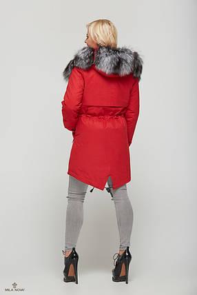 Зимняя Парка Красная прямого силуэта, фото 2