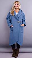Сарена. Женское пальто-кардиган больших размеров. Джинс.