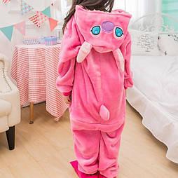(120, 130, нет-140 см) Детский кигуруми розовый стич v122