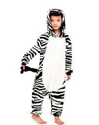 Детский кигуруми зебра черно-белая v125
