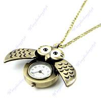 Часы карманные на цепочке сова бронза