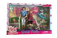 """Кукла типа Барби""""Семья"""" беременная,Кен,2куколки,кроват,лошадка-качалка.в кор.48*33*7с /24-2/"""