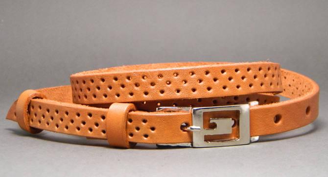 Ремень женский кожаный Svetlana Zubko 3F15427 рыжий 130х1,5 см