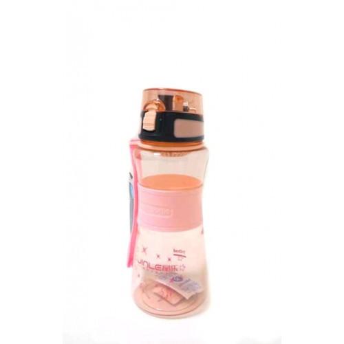 Спортивная бутылка поилка с силиконовой вставкой и ремешком R83331 розовая