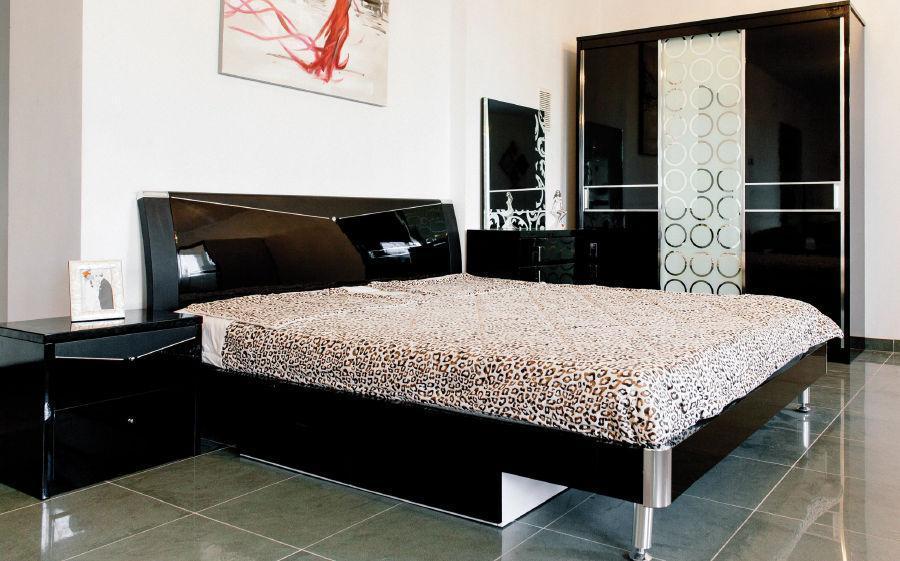 Спальня Черный Бриллиант (Черный) (1,60 м.) с подъемным механизмом (раскомплектовуется)