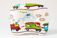 Детская ортопедическая подушка BabySoon Зверята в поезде 22 х 26 см (545)