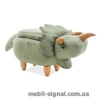 Детский пуфик Динозаврик Damian зеленый с ящиком (Signal)