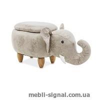 Детский пуфик Слоник Sebastian светло-серый с ящиком (Signal)