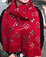 Шарф женский платок вязаный теплый с люрексом в стиле Louis Vuitton
