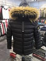 Мужская зимняя стеганая куртка Stone черная топ реплика