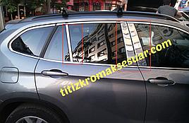Молдинги дверних стійок (нерж.) 6 шт. - BMW X1 E-84 2009-2015 рр.