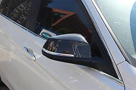 Накладки на зеркала (2 шт, натуральный карбон) - BMW X1 E-84 2009-2015 гг.