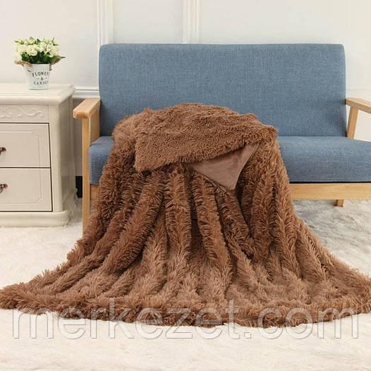 """Покрывало на диван. Плед. Одеяло пушистое. """"Браун"""""""