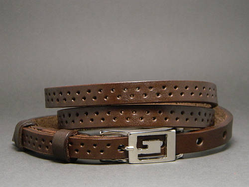 Женский ремень пояс кожаный «Дуэт» Svetlana Zubko ДхШ: 120х1,5 см. коричневый 3F15226