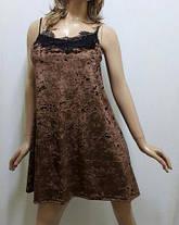 Ночная рубашка, ночнушка из ткани мраморный бархат ,с французским кружевом размеры 42 до 52, Украина, фото 3