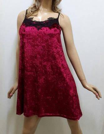 Ночная рубашка, ночнушка из ткани мраморный бархат ,с французским кружевом размеры 42 до 52, Украина, фото 2