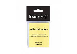 Стикеры для заметок Format 38*50 мм желтые 80 листов