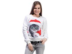 Свитшот с принтом Новогодний Котик L Белый (320-3152809_2)