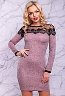Очаровательное женское платье-футляр (ангора с люрексом, кружево, длинные рукава) РАЗНЫЕ ЦВЕТА!