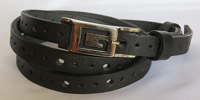 Ремень узкий женский кожаный Svetlana Zubko 3D15114 черный 120х1,5 см