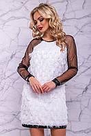 Очаровательное женское платье (креп шифон, сетка, кожа, длинные рукава, вечернее) РАЗНЫЕ ЦВЕТА!