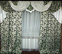 """Готовый комплект штор с ламбрекеном """"Филадельфия"""" для гостиной или спальни, фото 1"""