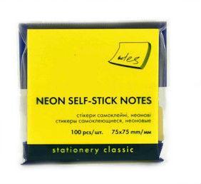 Стикеры для заметок с клейким слоем Economix 75*75 мм неон желтый 100 листов