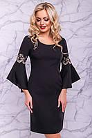 Нарядное черное платье с роскошными рукавами, фото 1