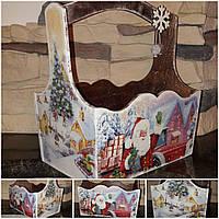 Красивый новогодний ящик, ручная работа, декупаж, дерево фанера, 19х18х12 см., 290/260 (цена за 1 шт. + 30 гр)
