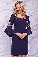 Синее роскошное платье с роскошными рукавами, фото 1