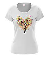 Футболка женская с рисунком Дерево сердце