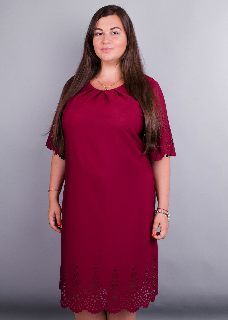 f758a5289fc Ажур. Красивое Платье Size Plus. Бордо. — в Категории