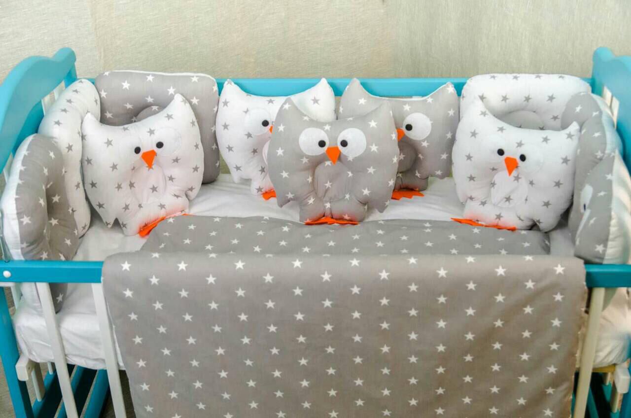 Постільна білизна з бортиками в ліжечко «Сови з зірочками»