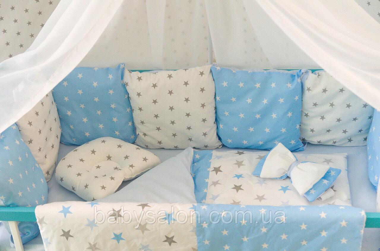 Комплект в кроватку для новорожденных «Облако» —  17 предметов, для мальчика